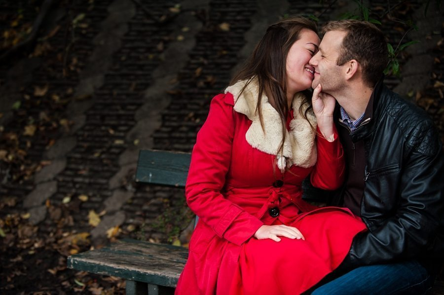 Engaged Couple kissing on their Copenhagen pre-wedding shoot