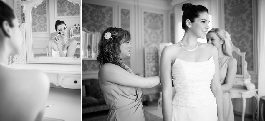 Bride and bridesmaids getting ready at Great Fosters