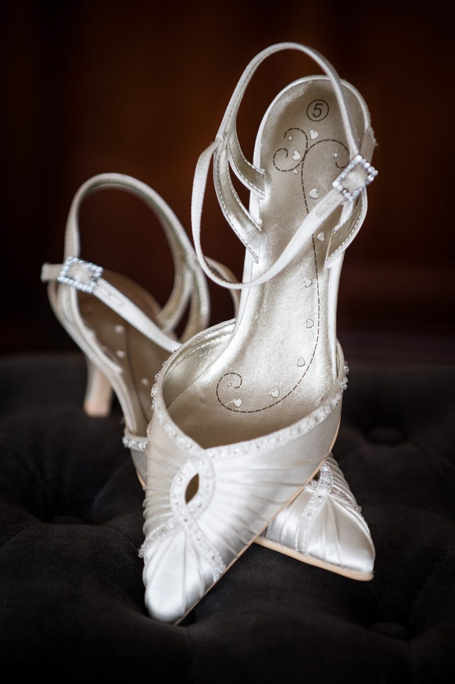 Bride's shoes at Great Fosters as she's getting ready in the Bridal prep