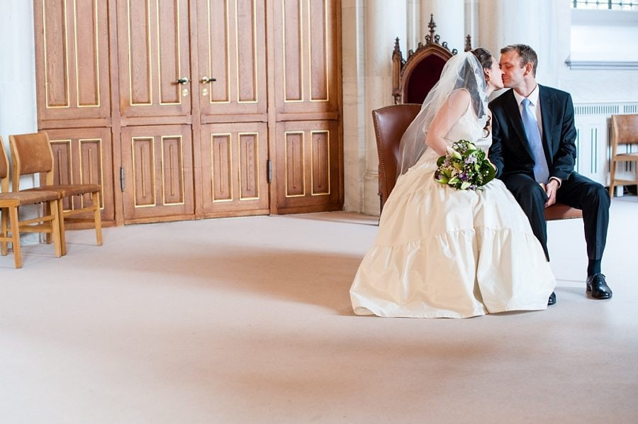 The bride and groom kissing at their destination wedding by Copenhagen wedding photographer maria assia