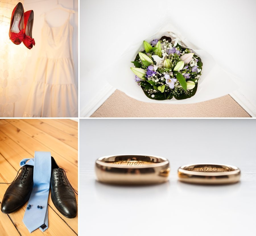 Bride's shoes and flowers, the groom's accessories and the wedding rings