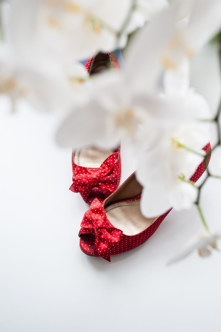 Winter Wedding shoes through orchids