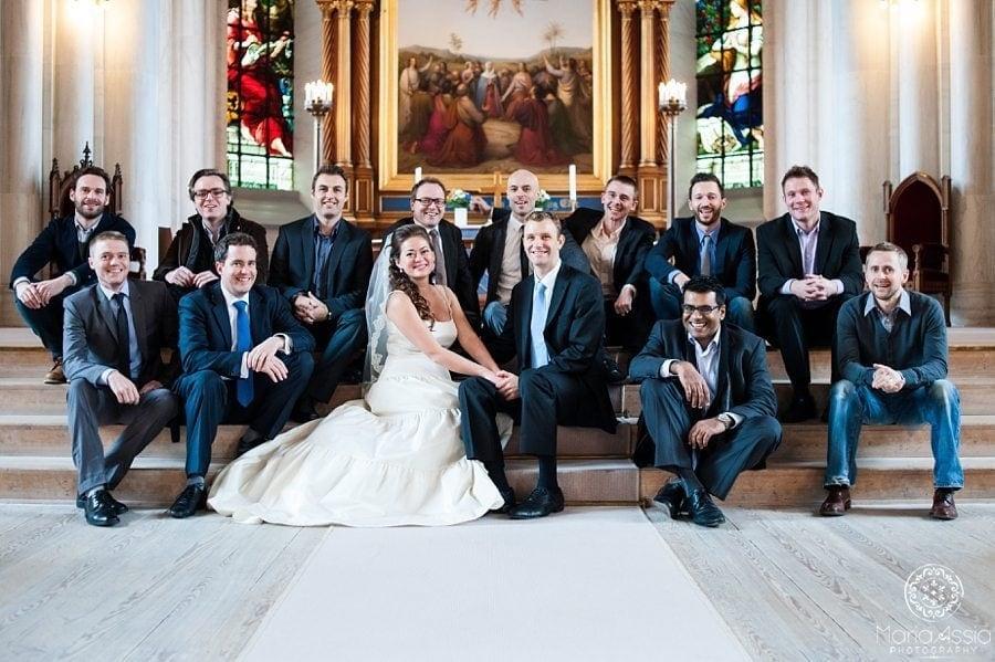 Copenhagen wedding photographer group shot in the church