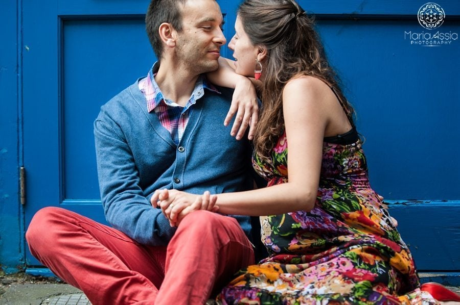 Angel Colourful & Intimate Maternity shoot pregnant couple sitting in a Regent's Canal door