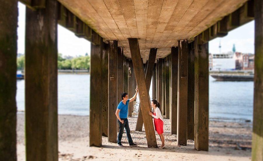 Thames pier Southbank pre-wedding shoot