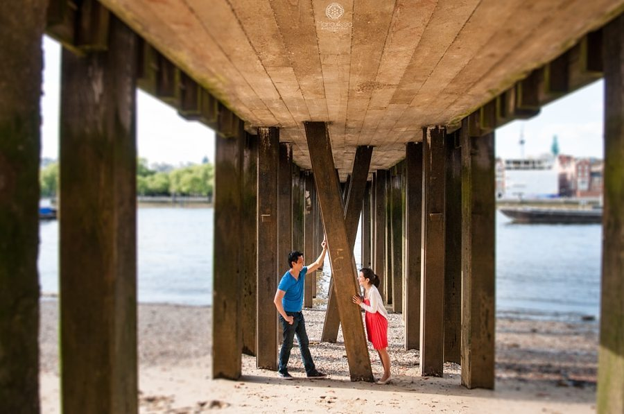 Thames pier Southbank pre-wedding shoot photographed by Maria Assia Photography