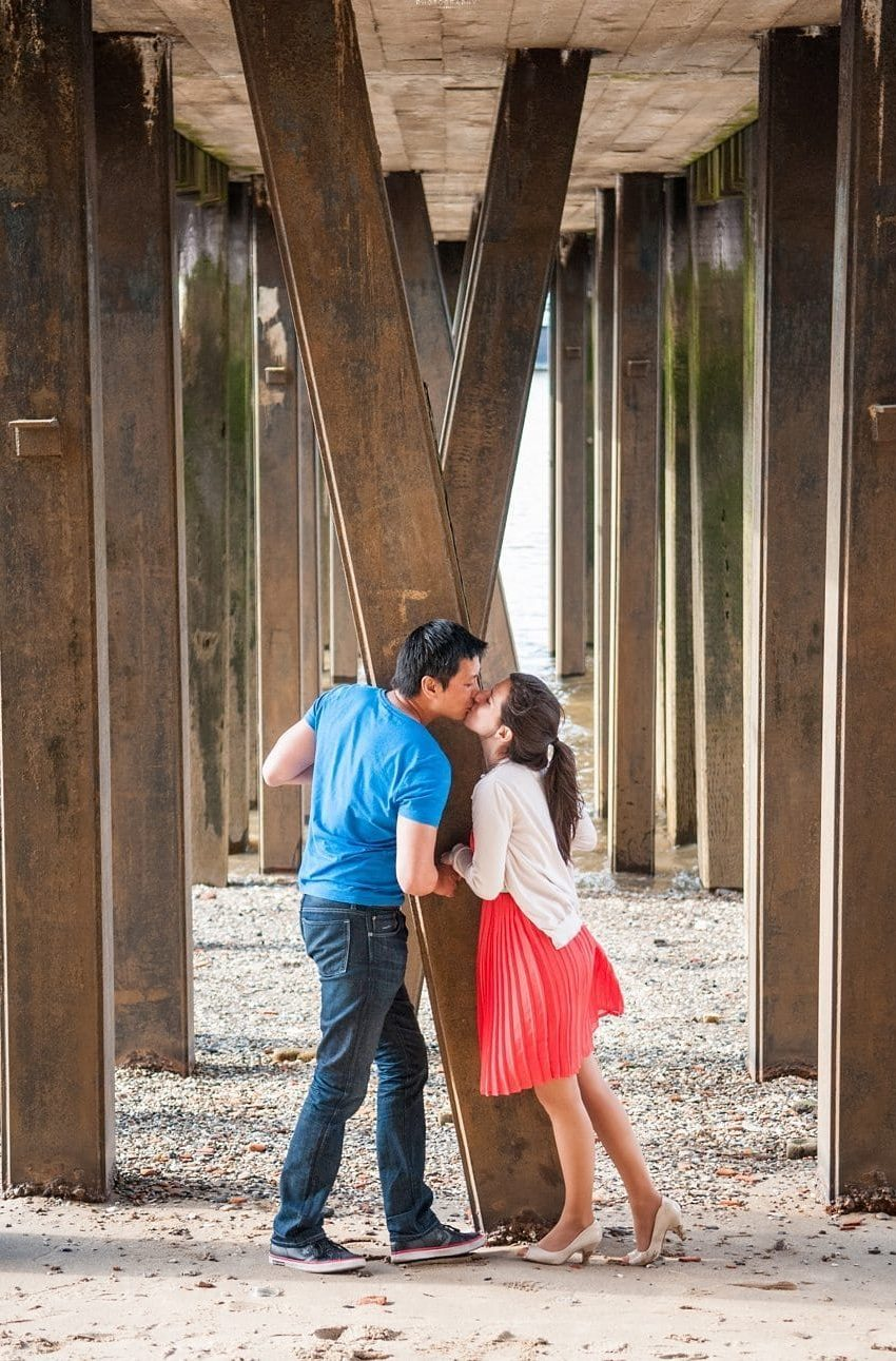 Couple kiss under the London Southbank pier