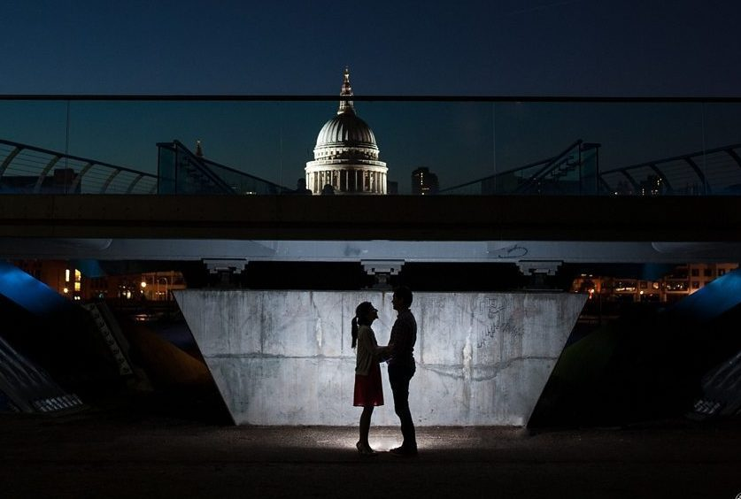 St Paul's seen at night from Millenium Bridge on a Southbank pre-wedding shoot