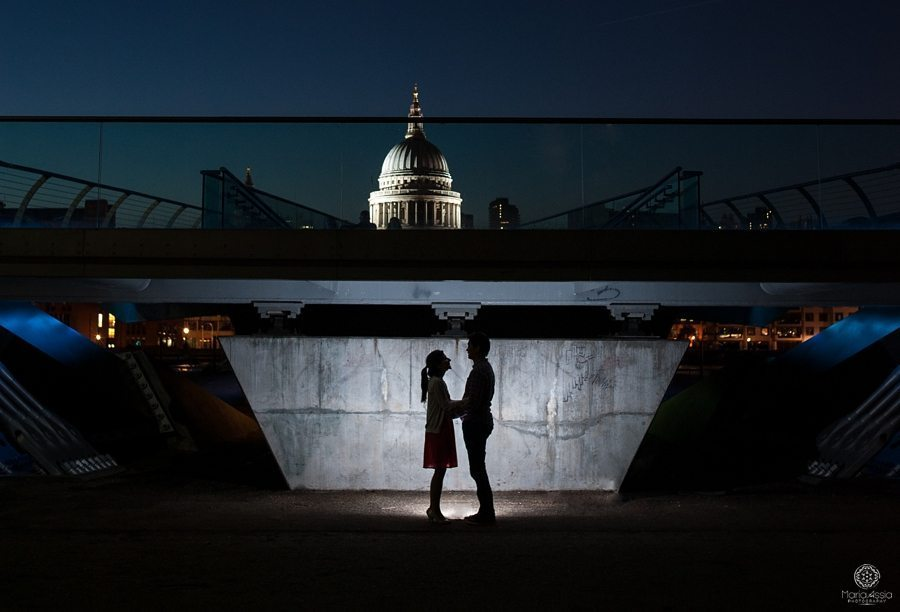 Evening Southbank pre-wedding shoot by alternative wedding photographer maria assia photography