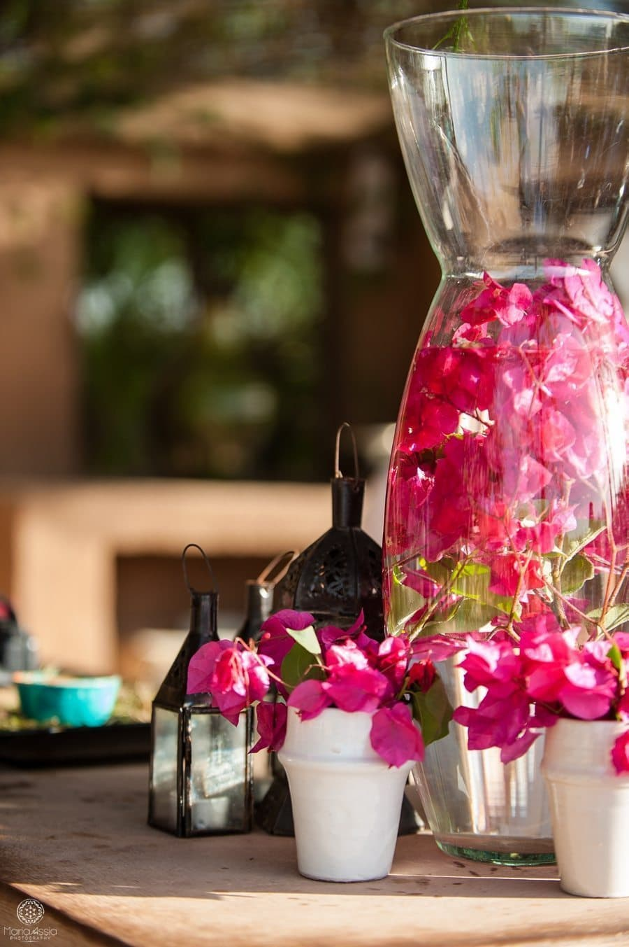 Moroccan flowers in a vase and cups at a Moroccan Destination wedding photography