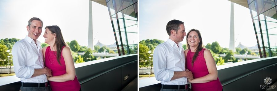 Engagement shoot outside of Munich BMW building