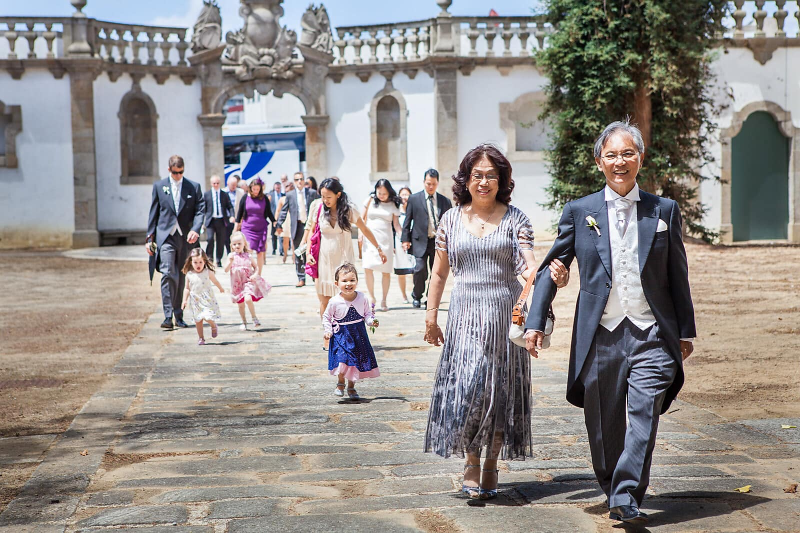 Wedding guests arriving at a Porto Palácio do Freixo Destination Wedding