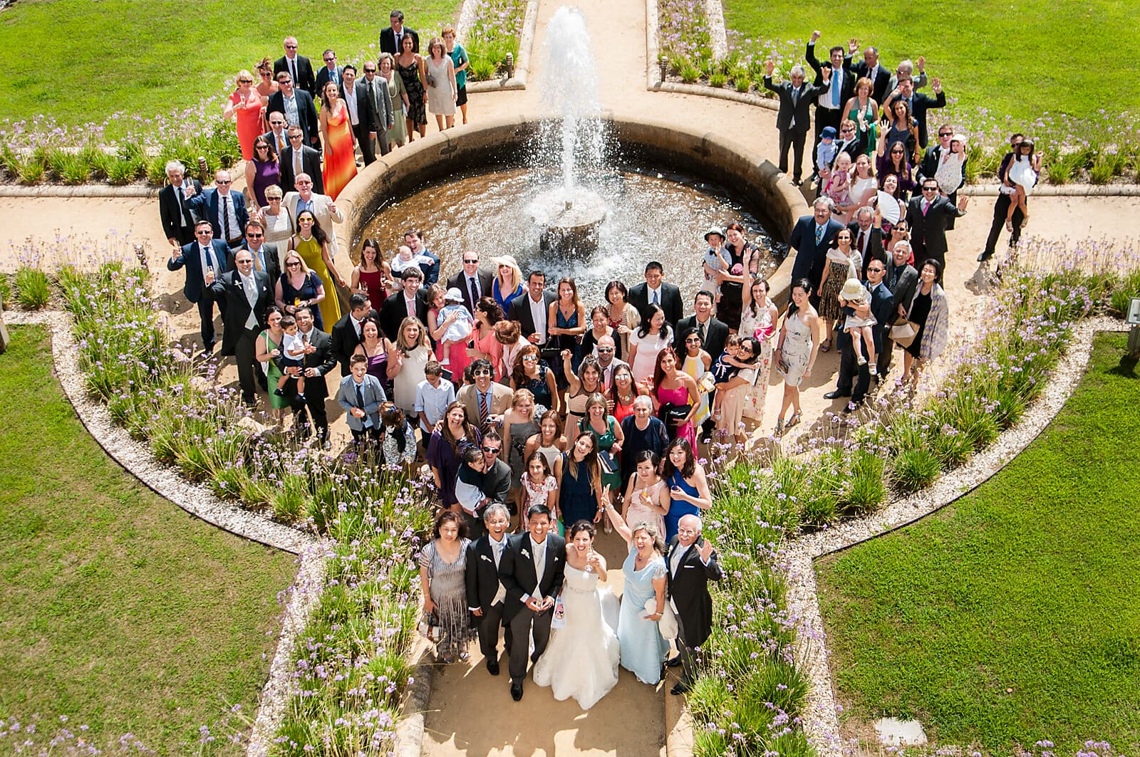 Happy wedding group shot at a Palácio do Freixo Destination Wedding