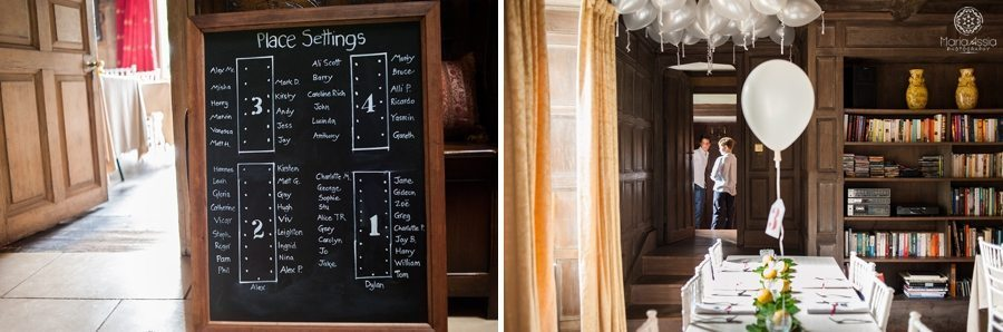 Wedding seating plan on chalk board and decorated room