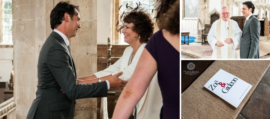Groom welcoming guests at St Peter's Church Walpole, King's Lynne Wedding photographer
