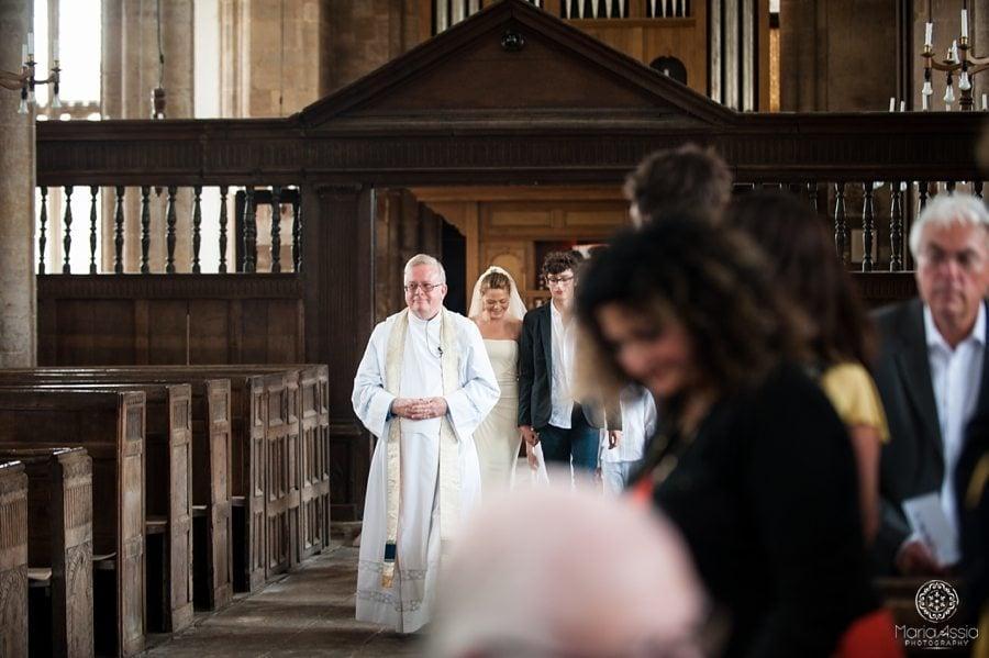 Bride walking up the isle, St Peter's Church Walpole, Norfolk wedding photographer
