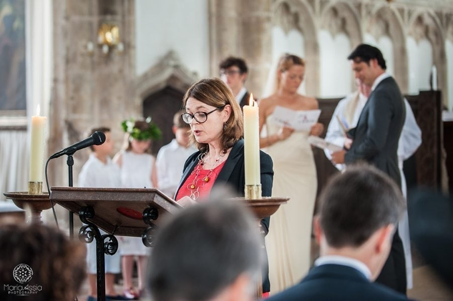 Wedding speaker at wedding ceremony, St Peter's Church Walpole, Norfolk