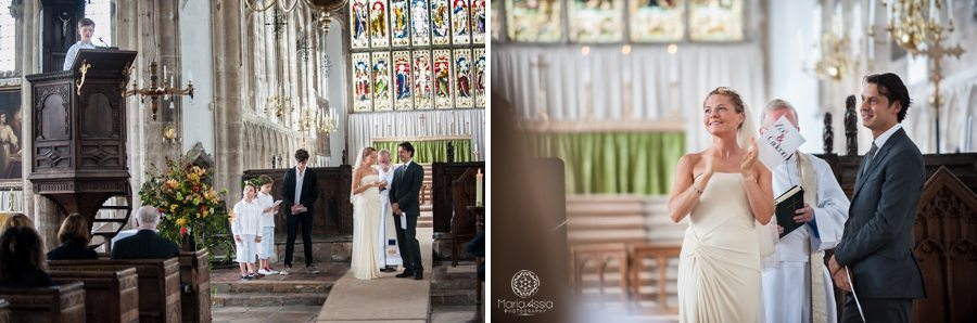 Bride and Groom clapping at son's wedding speech, Norfolk wedding