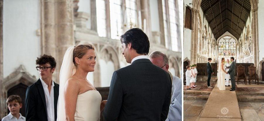 Norfolk bride and groom exchanging wedding vows