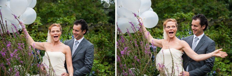 Bride and Groom, Wedding portraits, Bride holding balloons, King's Lynn wedding photographer