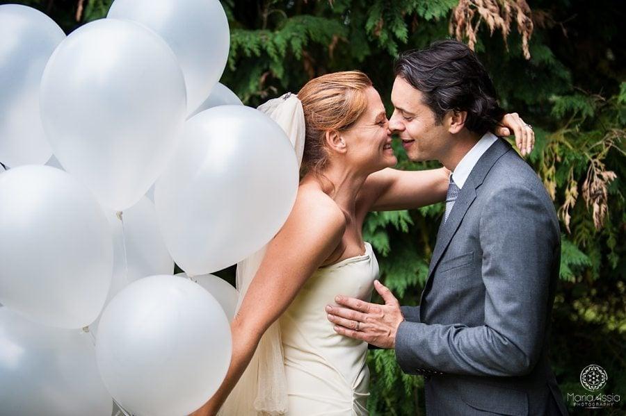 Bride and Groom, Wedding portraits, Bride holding balloons, Norfolk wedding photographer