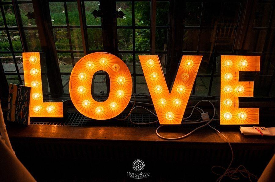Lit Love wedding sign