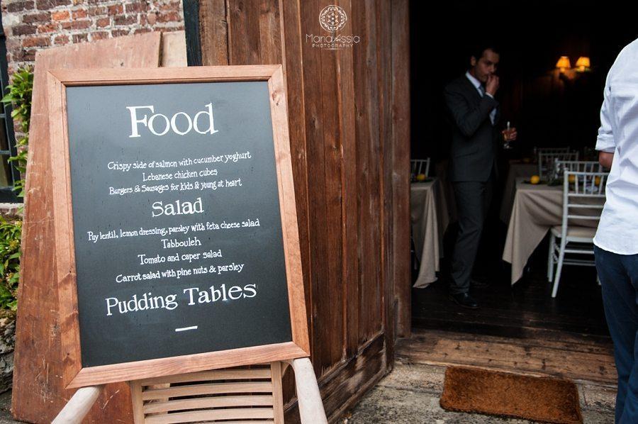 Wedding food menu board