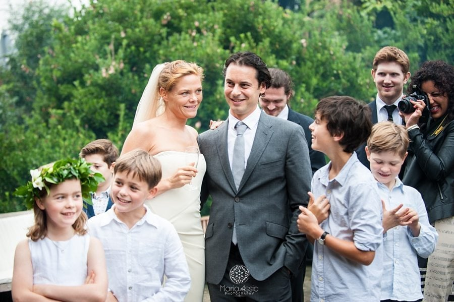 Bride and groom and their family