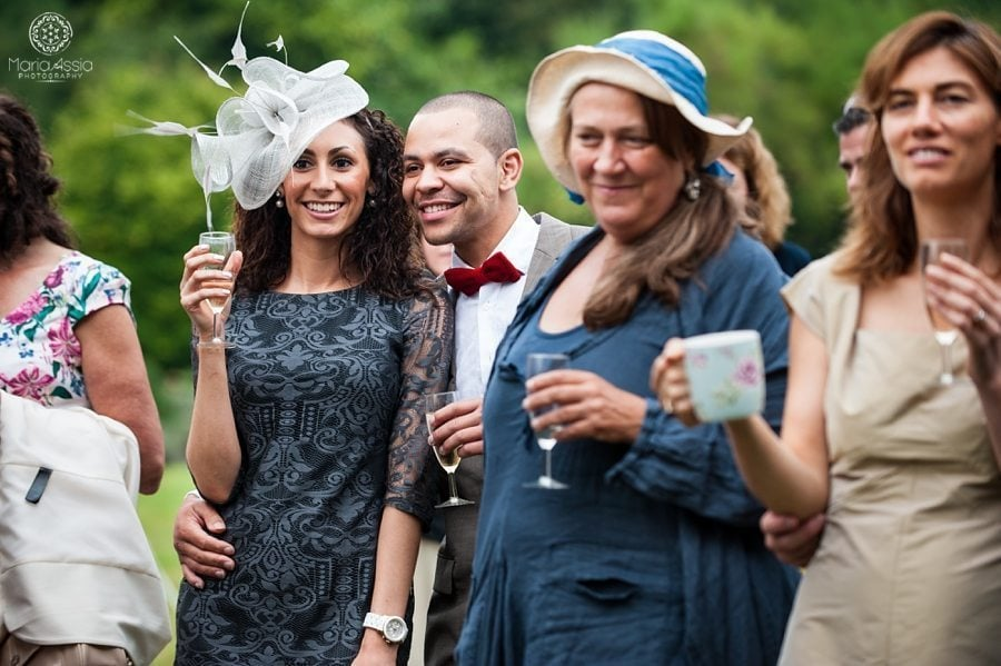 Norfolk wedding guests reacting to speeches