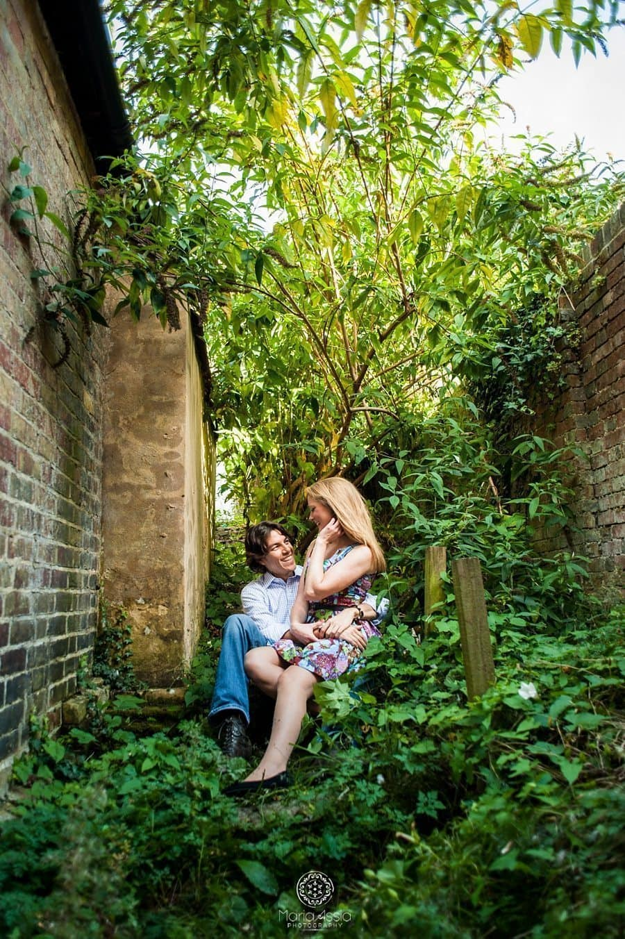 Romantic couple photoshoot, Kent engagement photographer, couple sitting together