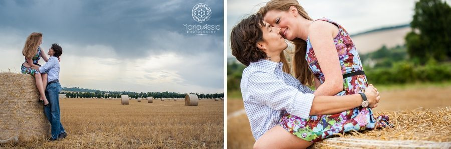 Couple hugging in Kent hay field, Romantic couple photoshoot, Kent engagement photographer