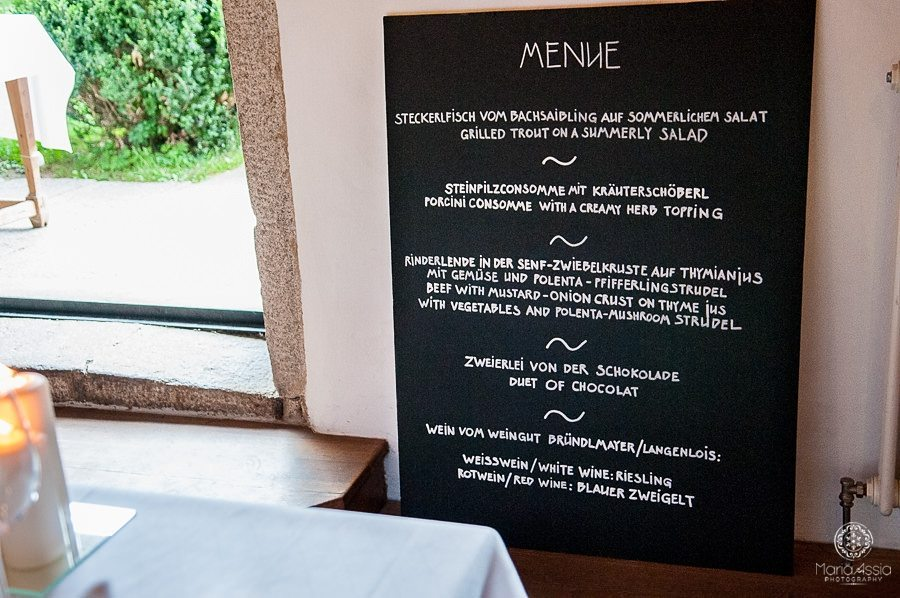 Whimsical Wedding food menu