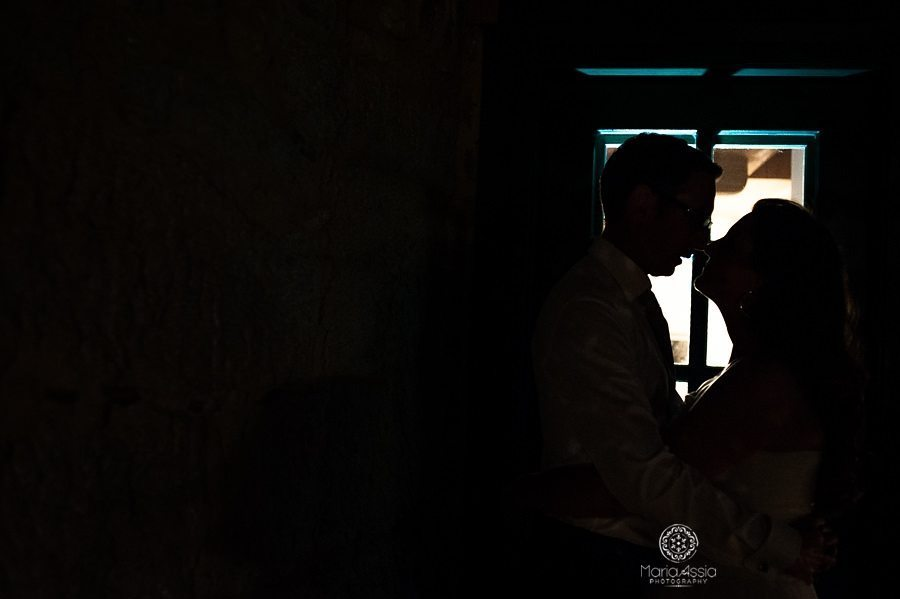 Creative light late night bride and groom portrait