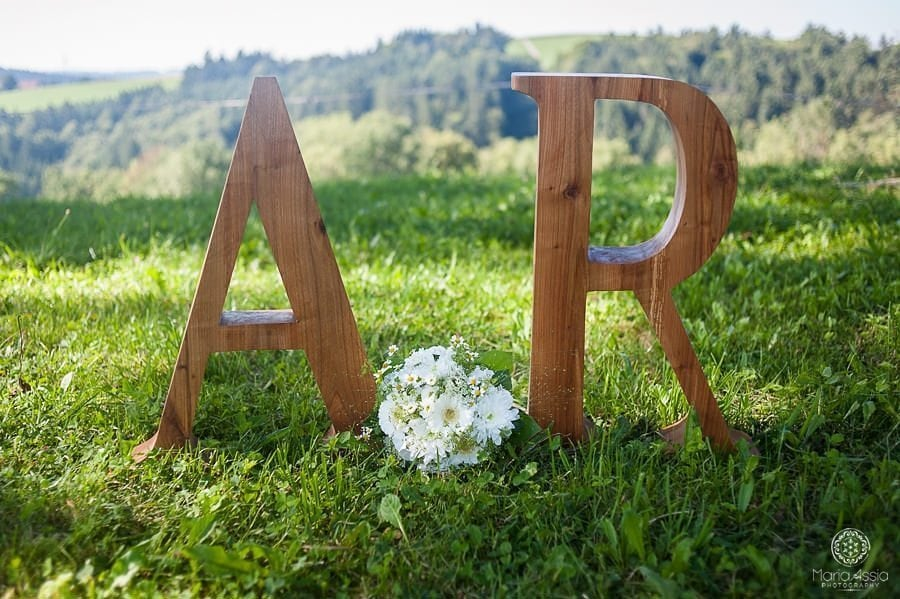 Homemade initials of the bride and groom