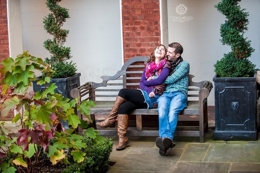 Engaged couple hugging and laughing, Christopher Wren Hotel Windsor