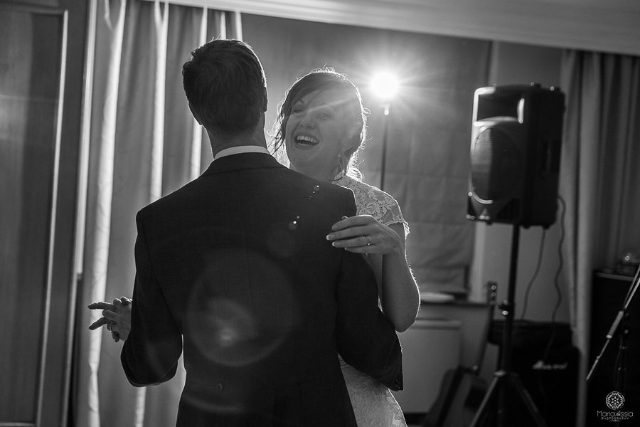 Bride and groom's Billelsey Manor Hotel first wedding dance by documentary wedding photographer Maria Assia Photography