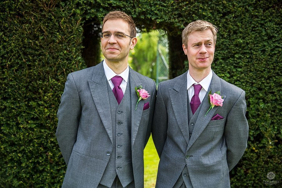 Billesley Manor Hotel wedding groom and best man alternative wedding photographer Maria Assia Photography