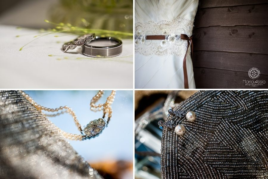 Bride's vintage chic accessories fitting with the wedding theme