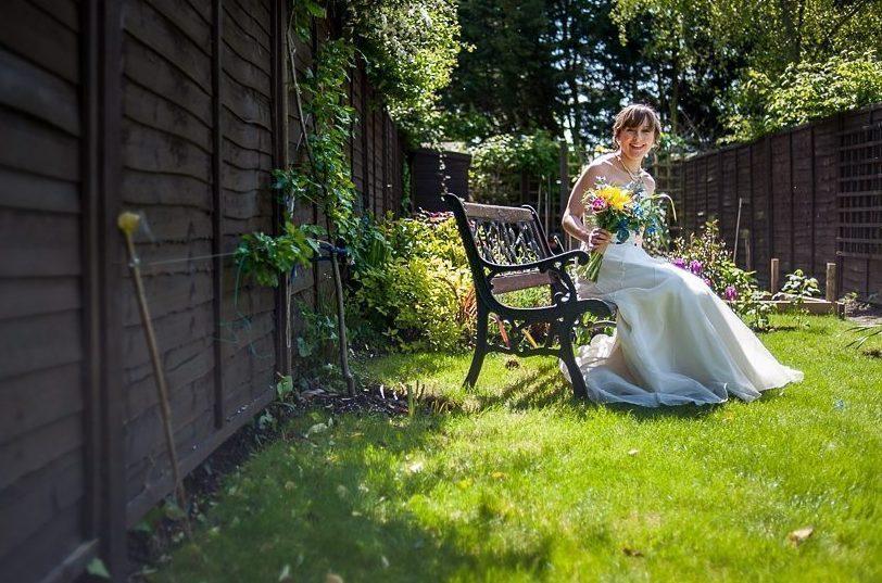 Colourful bridal sunflower wedding bouquet