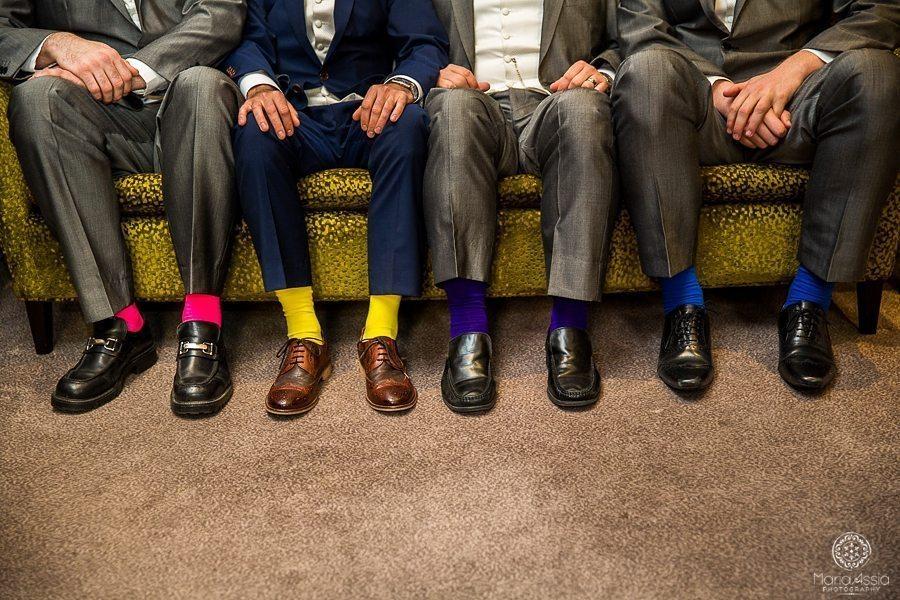 Colourful wedding socks at their Sir Christopher Wren Hotel Vintage Windsor Wedding