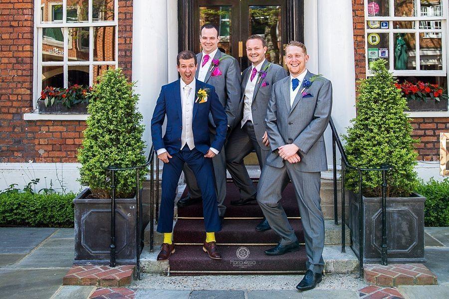 Groom and Groomsmen at Sir Christopher Wren Hotel Vintage Windsor Wedding