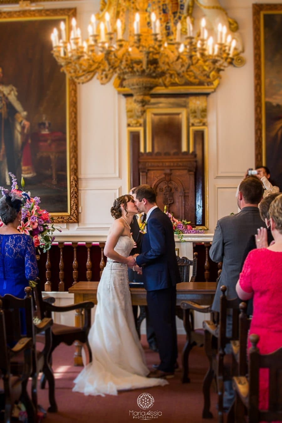 Bride and groom kissing at Windsor Guildhall