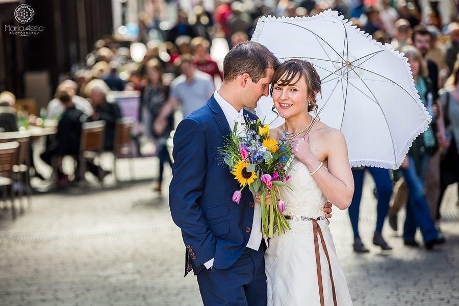 Bride and groom at their vintage Windsor wedding