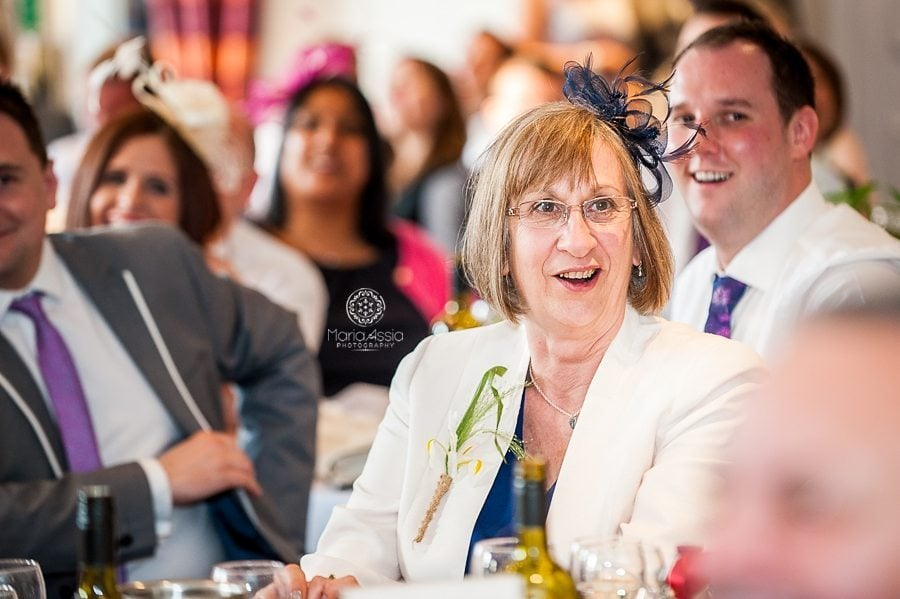 Wedding guests laughing at a vintage windsor wedding