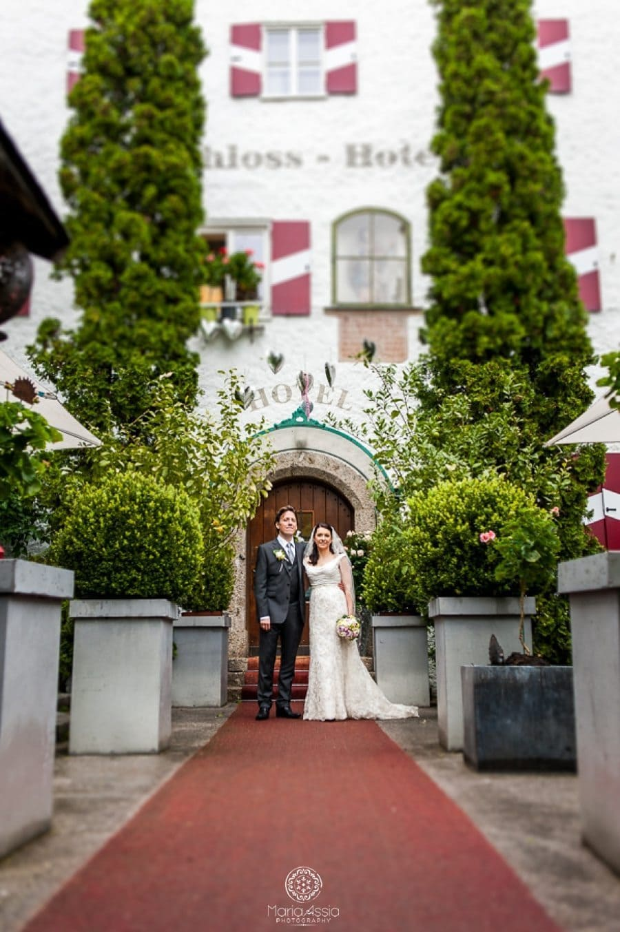 Bride and Groom at Iglhauser Hotel Mattsee Austria