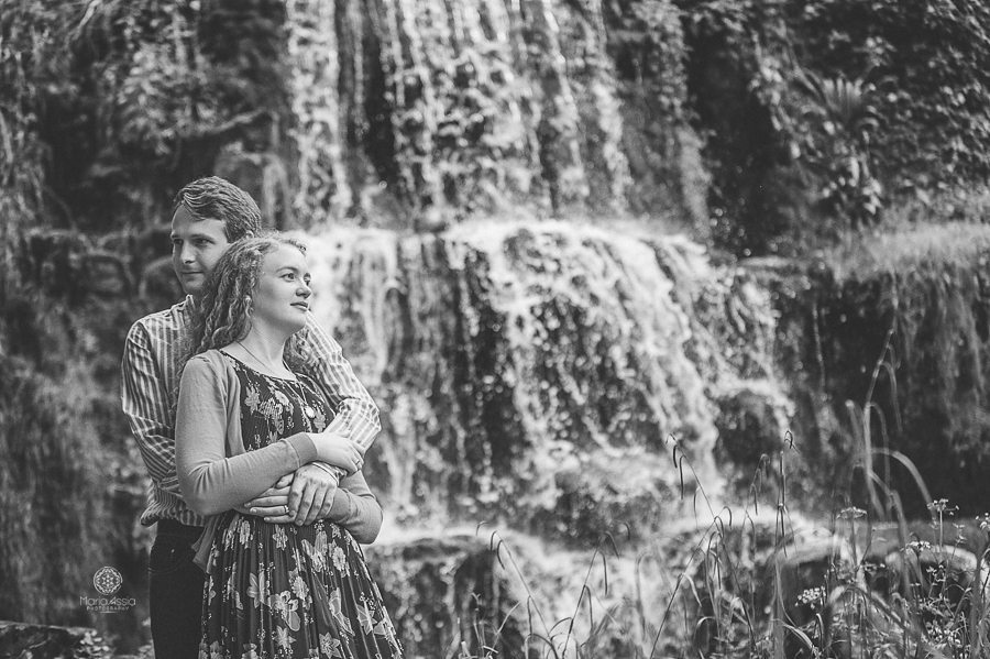 Couple standing at Bowood waterfall