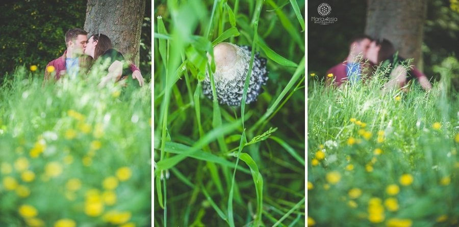 Mushroom and kissing couple in a meadow