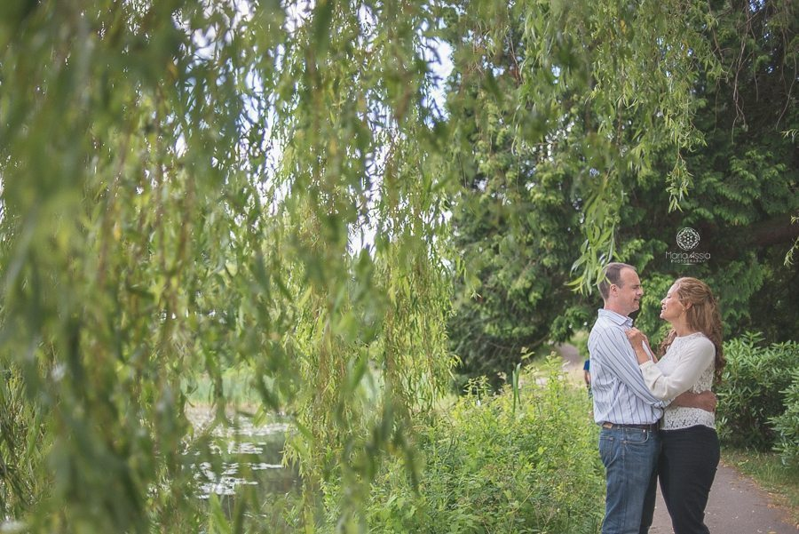 Helga and Barry framed by weeping willow