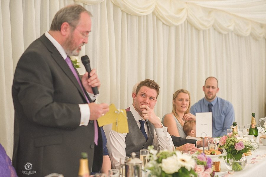 Wedding speech of the father of the bride at Birtsmorton Court wedding