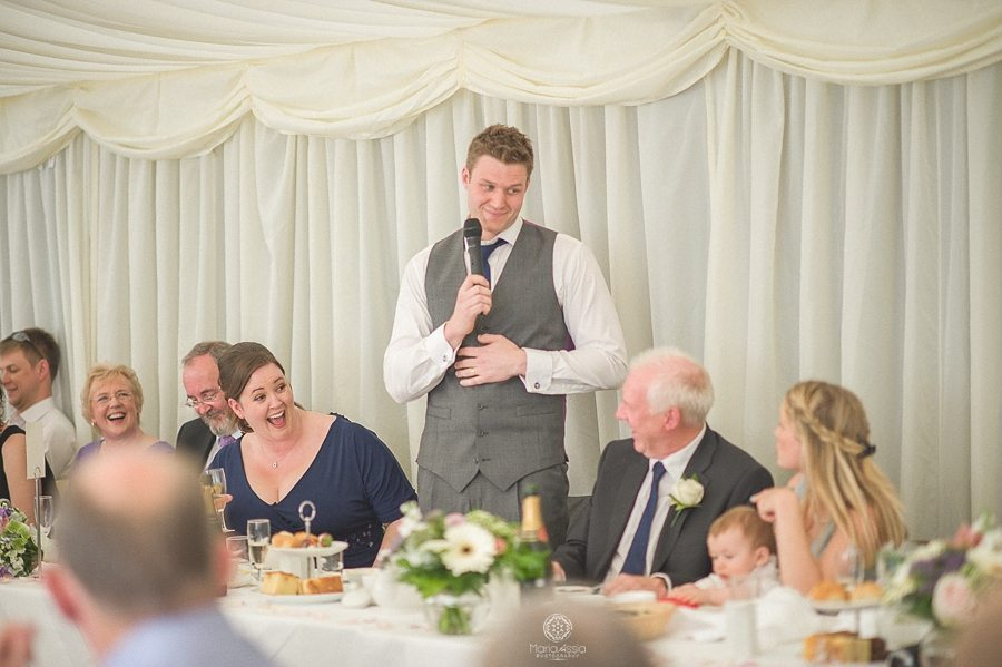 Wedding speech of the groom at Birtsmorton Court Navy Blue Wedding - Maria Assia Photography